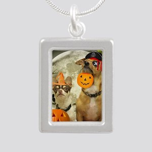 Halloween Chihuahuas Silver Portrait Necklace