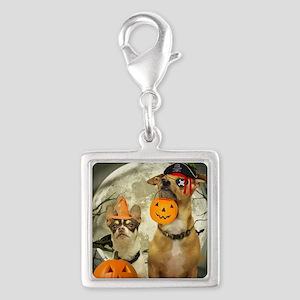Halloween Chihuahuas Silver Square Charm