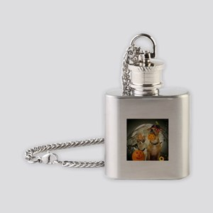 Halloween Chihuahuas Flask Necklace