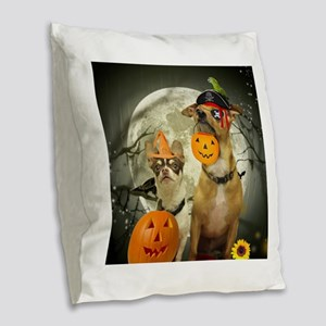 Halloween Chihuahuas Burlap Throw Pillow