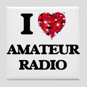I Love Amateur Radio Tile Coaster