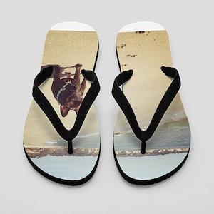 French Bulldog on the Beach Flip Flops