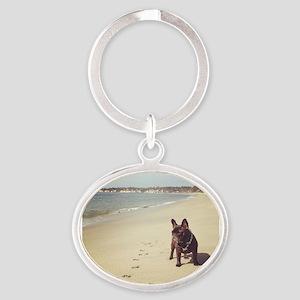 French Bulldog on the Beach Keychains