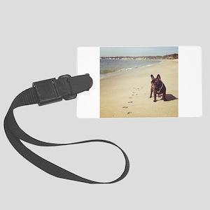 French Bulldog on the Beach Luggage Tag