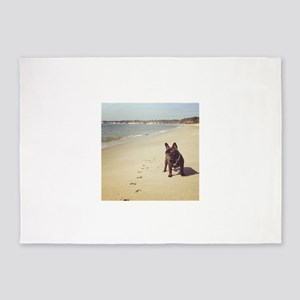 French Bulldog on the Beach 5'x7'Area Rug