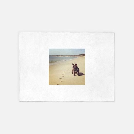 French Bulldog on the Beach 5'x7'Area Rug