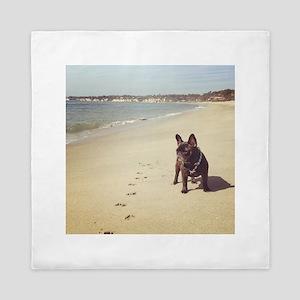 French Bulldog on the Beach Queen Duvet