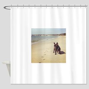French Bulldog on the Beach Shower Curtain