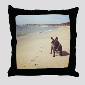 French Bulldog on the Beach Throw Pillow