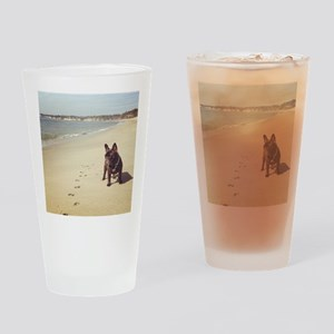 French Bulldog on the Beach Drinking Glass