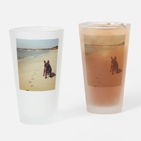 French Bulldog on the Beach Drinking Glass