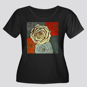 Retro Roses in Red, Gray and Blue Plus Size T-Shir