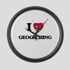 I Love Geocaching Large Wall Clock