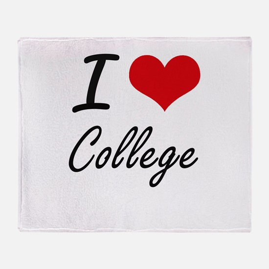I Love College Artistic Design Throw Blanket