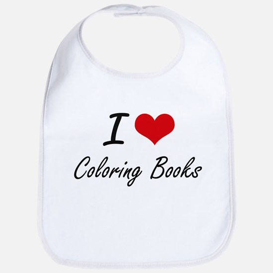 I love Coloring Books Artistic Design Bib