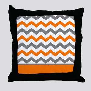 Orange Gray Chevron Stripe Throw Pillow