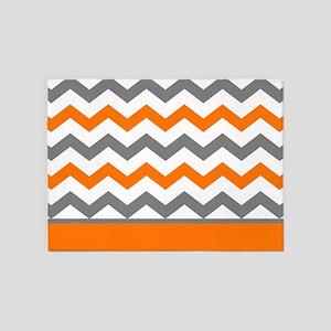 Orange Gray Chevron Stripe 5'x7'Area Rug