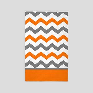 Orange Gray Chevron Stripe Area Rug