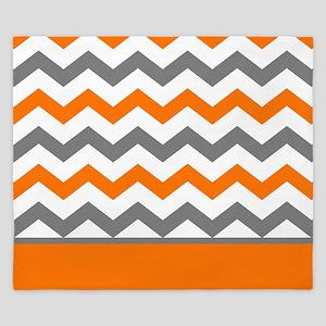 Orange Gray Chevron Stripe King Duvet