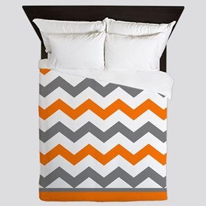 Orange Gray Chevron Stripe Queen Duvet