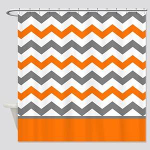 orange chevron shower curtain. Orange Gray Chevron Stripe Shower Curtain Curtains  CafePress