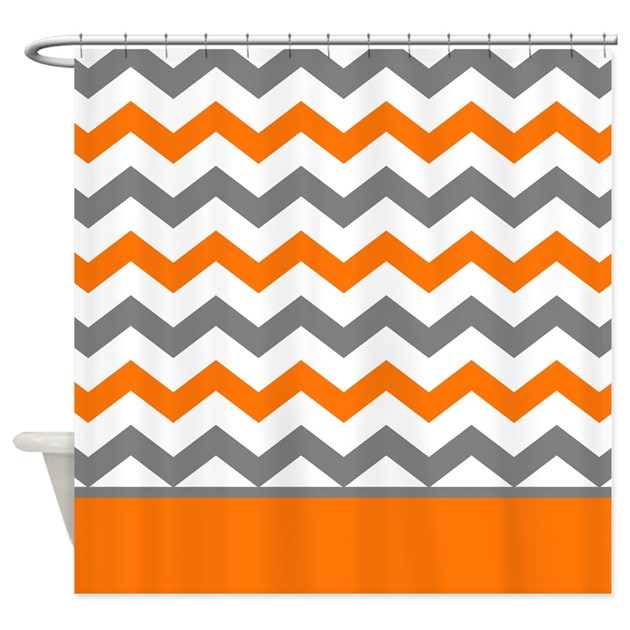 Orange Gray Chevron Stripe Shower Curtain By Printcreekstudio