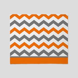 Orange Gray Chevron Stripe Throw Blanket