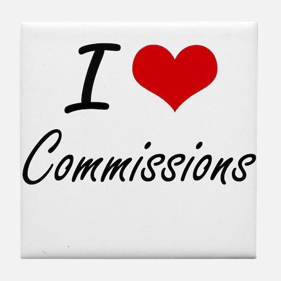 I love Commissions Artistic Design Tile Coaster