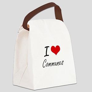 I love Communes Artistic Design Canvas Lunch Bag