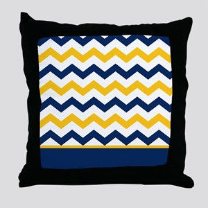Blue and Yellow Chevron Stripe Throw Pillow