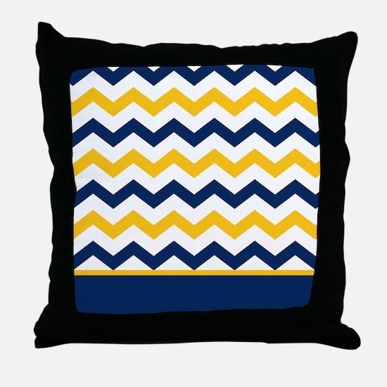Blue and Yellow Chevron Stripe Throw Pillow