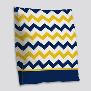 Blue and Yellow Chevron Stripe Burlap Throw Pillow