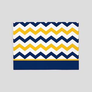 Blue and Yellow Chevron Stripe 5'x7'Area Rug