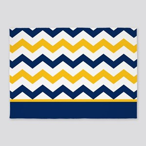 Blue And Yellow Chevron Stripe 5 X7 Area Rug
