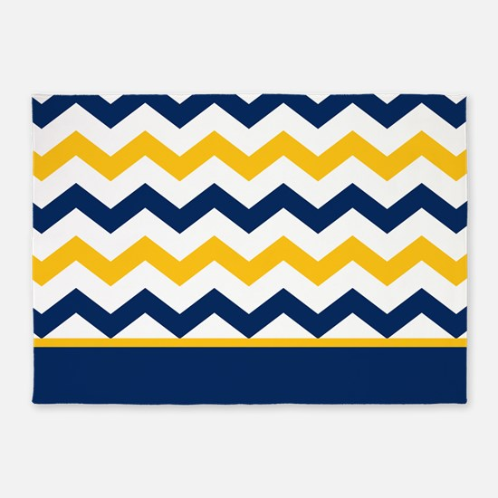 Blue and Yellow Chevron Stripe 5'x7'Area Rug