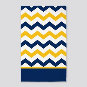 Blue and Yellow Chevron Stripe Area Rug