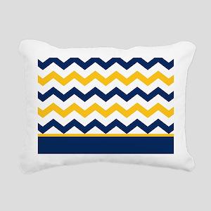 Blue and Yellow Chevron Stripe Rectangular Canvas