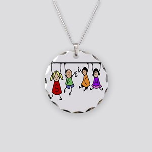 Cute Kids Cartoon Holding Necklace Circle Charm