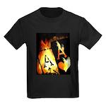 Hot Flaming Poker Aces Kids Dark T-Shirt