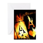 Hot Flaming Poker Aces Greeting Cards (Pk of 10)