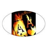 Hot Flaming Poker Aces Oval Sticker