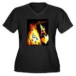 Hot Flaming Poker Aces Women's Plus Size V-Neck Da