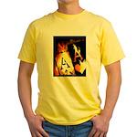 Hot Flaming Poker Aces Yellow T-Shirt