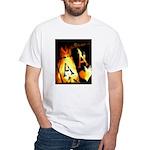 Hot Flaming Poker Aces White T-Shirt