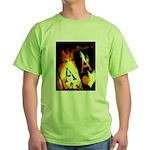 Hot Flaming Poker Aces Green T-Shirt