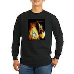 Hot Flaming Poker Aces Long Sleeve Dark T-Shirt