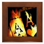 Hot Flaming Poker Aces Framed Tile