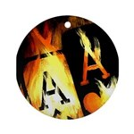 Hot Flaming Poker Aces Ornament (Round)