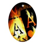 Hot Flaming Poker Aces Oval Ornament