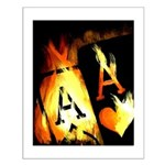 Hot Flaming Poker Aces Small Poster